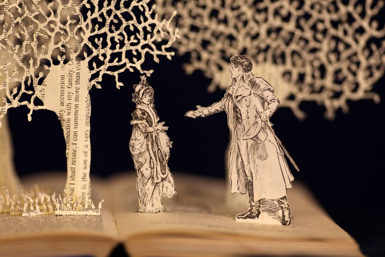 Pride and Prejudice book sculpture by Justin Rowe