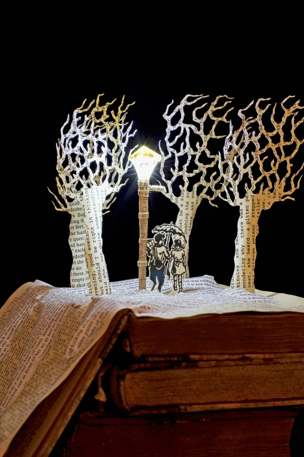 Tumnus and Lucy Narnia book sculpture 2 web