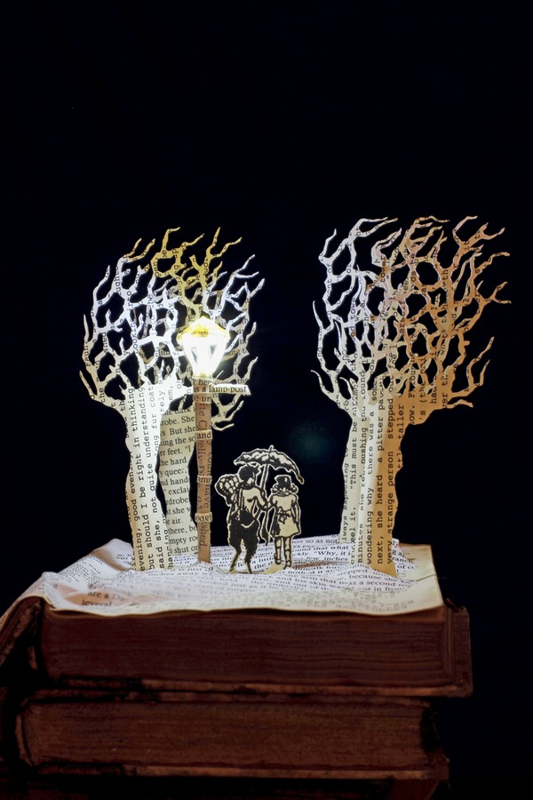 Tumnus and Lucy Narnia book sculpture 1 web